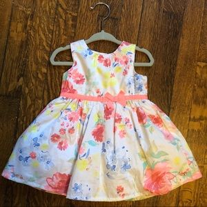 Flower print party dress and matching cardigan.